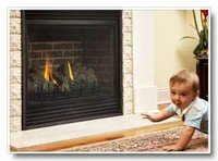 Baby to close to fireplace.