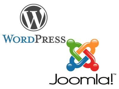 Wordpress and Joomla logos