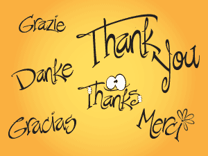 Image of the phrase Thank You in several languages.
