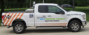 Propane powered Ford F-150 on the road.
