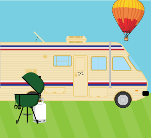 RV, Barbecue, and hot air balloon