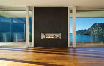 Boulevard vent free fireplace in a penthouse on the water
