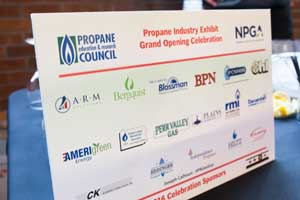 Sign showing the sponsors of the grand opening.