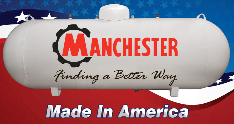 Horizontal Propane tank with the Manchester logo on it in front of an American flag background.