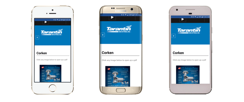 Three mobile phones showing the Tarantin website.