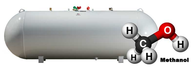 Horizontal Tank with the symbol for Methanol in front of it.