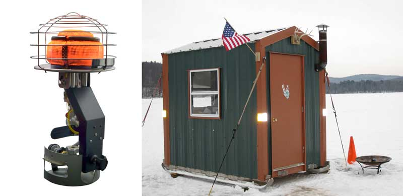 Tank Top heater and an ice fishing shack.
