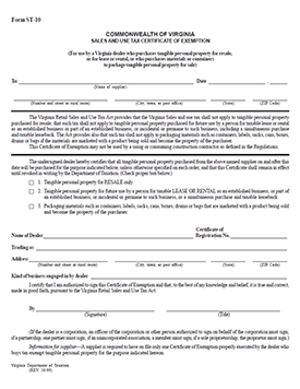 Download the Virginia Sales Tax Form