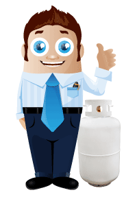 Businessman giving the thumbs up while standing next to a propane tank
